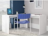BRV Móveis Wood Wood Computer Desk, BC 59-06, White, H50 x W136 x D12 cm, Require Assembly