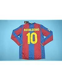 1e5b99218a8c7 BROOK Ronaldinho 10 Barcelona Home Retro Longsleeve Soccer Jersey 2006-2007  (Red Blue