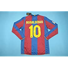 BROOK Ronaldinho 10 Barcelona Home Retro Longsleeve Soccer Jersey 2006-2007  (Red Blue c004a96105c