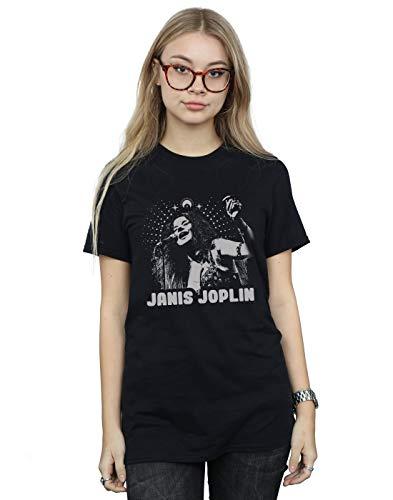 Absolute Cult Janis Joplin Mujer Spiritual Mono Camiseta del Novio Fit Negro Large