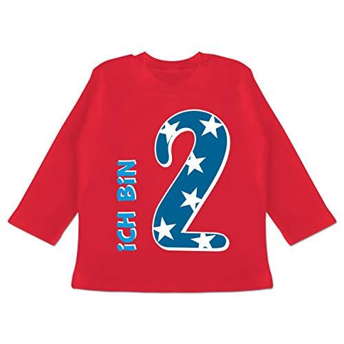 Geburtstag Baby - Ich Bin 2 Blau Junge - 18-24 Monate - Rot - BZ11 - Baby T-Shirt Langarm -