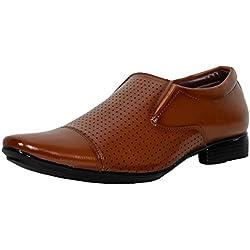 T-Rock Men's Dark Brown Faux leather Formal Shoes 10