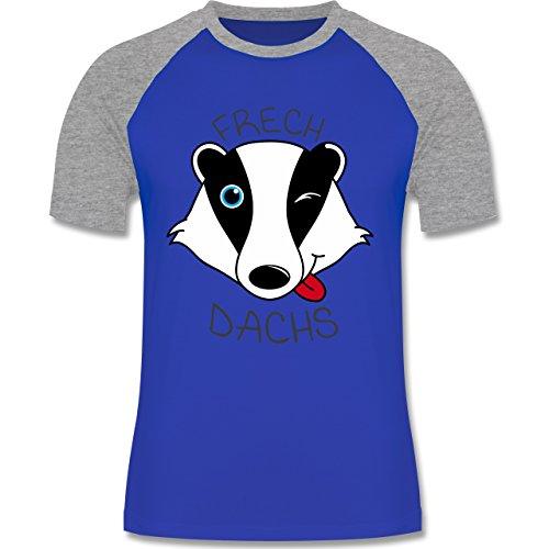 Shirtracer Statement Shirts - Frechdachs - Herren Baseball Shirt Royalblau/Grau meliert