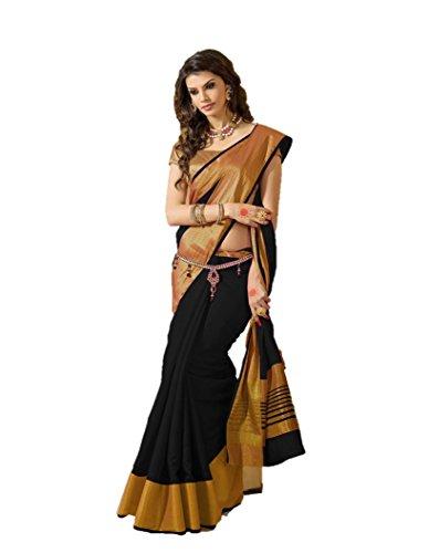 Indianbeauty Raw Silk Saree (Tussar Pallu Black_Black)