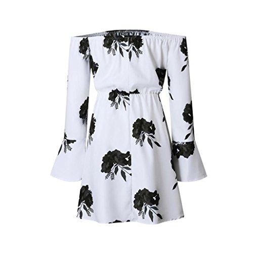 kleid damen Kolylong® Frauen aus Schulter elegant Floral gedruckt lange Ärmel Party Kleid Sommer trägerlos srandkleid rückenfrei Minikleid Abendkleid Schwarz