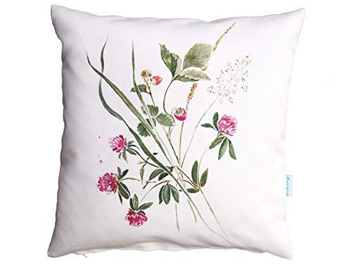 Blumenstrauss Aquarell, Kissenbezug mit Wildblumen, Wildpflanzen, 40x40cm,Baumwolle,Leinen -