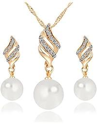 feadba684e6b Conjunto Pendientes y Collar Perlas Diamante de Imitación