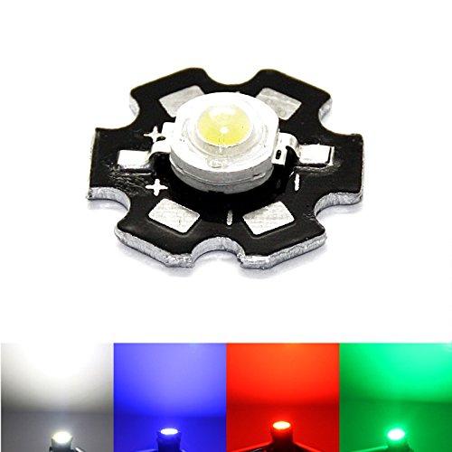 1W LED mit PCB Board - Aluminum Base Plate Heat Sink weiß blau rot grün AXD 1W V Volt (weiß)