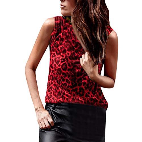 Urlaub Drucken Scrub Top (KIMODO Damen Bluse Leopard Drucken T Shirt Baumwolle Schlank Weste Sexy Top Sommer Ärmellos Shirt Große Größe Oberteile)