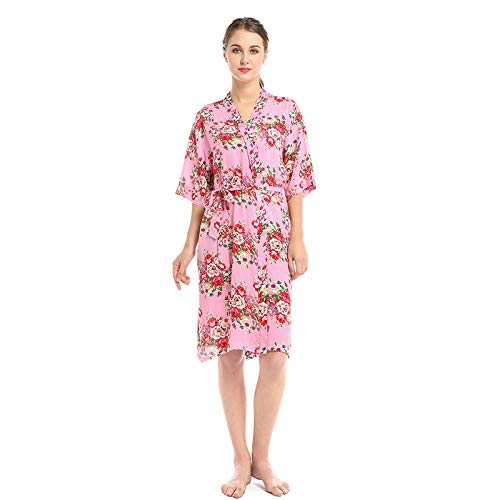 Baumwoll-print-nachthemd (Frauen Nachthemd Baumwolle Print Pyjamas Komfortable Sexy Bademantel Home Casual Bademantel - Pink_S)