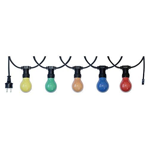 Illu Lichterkette Komplettset E27 Fassungen für Biergarten Party Weihnachten Girlanden schwarz verlängerbar (10 Meter 20 Fassungen)