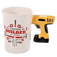 present gift. Builders Mug with Electric Drill Shaped Handle. Perfect for any round