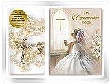 the Healing Corner Mädchen-Rosenkranz und Mini-Kommunionbuch, Geschenk zur Erstkommunion, mit Perleneffekt.