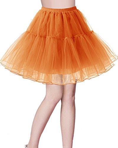 bridesmay Kurz Retro Petticoat Rock 1950er Vintage Tutu Ballett Unterkleid Orange XL
