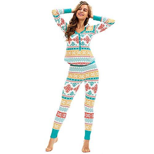 BBestseller Mujeres Copos de Nieve Imprimiendo Mangas largas Camisones Pijamas de Navidad Conjunto Top Blusa + Pantalones Ropa Térmica Invierno