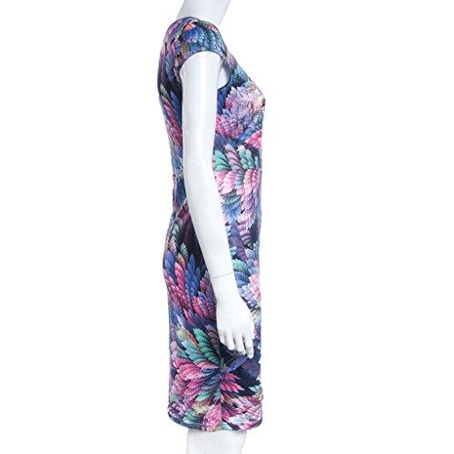 Rcool Elegante gedruckte Blumenmuster Arbeit Partei Bleistift Etuikleid Multicolor