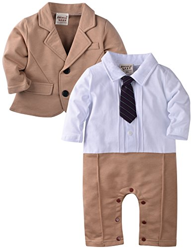 ZOEREA Baby Boys Gentlemen Romper Jumpsuit Wedding Suits Tuxedo Baptism 2pcs Outfit Sets Stripe Vest Jacket Coat 3-18 Months