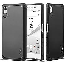 Sony Xperia Z5 Funda, J&D [Armadura Delgada] [Doble Capa] [Protección Pesada] Híbrida Resistente Funda Protectora y Robusta para Sony Xperia Z5 - Negro