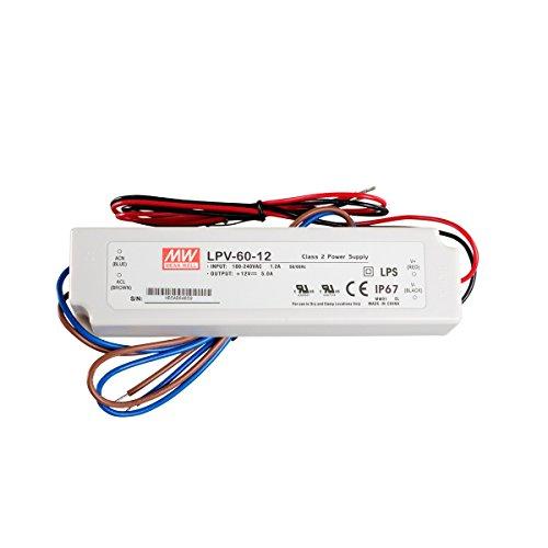Preisvergleich Produktbild LED Netzteil Trafo Mean Well LPV-60-12 Schaltnetzteil, 12V / 5A / 60W IP67 LED Transformator für LED Beleuchtung
