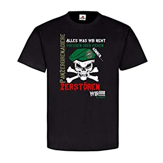 Panzergrenadiere Zerstören Alles fressen PzGren Humor Fun BW T Shirt #20042, Farbe:Schwarz, Größe:Herren M