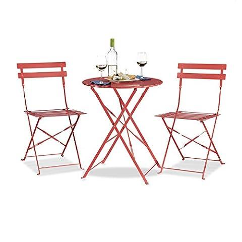 Relaxdays Ensemble table et chaises de bistrot ronds 60 x 60 cm pliants en métal jardin extérieur,