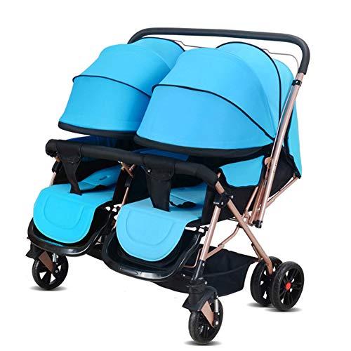 nderwagen Doppelkinderwagen Kann Sitzen Liegend Klappbar Umkehr Doppel Neugeborenen Kinderwagen (Farbe: Blau) ()