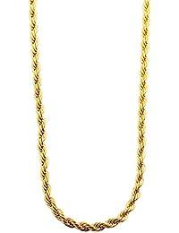 Acento cordón-collar de acero inoxidable con IP oro-revestimiento, longitud 70 cm + 5 cm Prórroga/grosor 2 mm