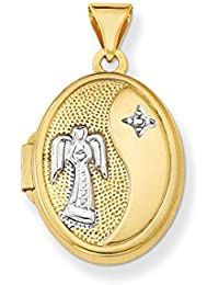 ICE CARATS 14k Yellow Gold 17mm Guardian Angel Oval Photo Pendant Charm Locket Chain Necklace That Holds Pictures Fine Jewelry Gift Set For Women Heart