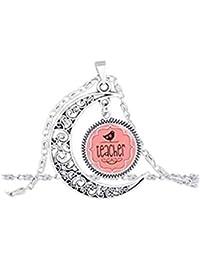 d32ca3ca295b Hot joyas de cúpula de cristal colgante de luna llena del profesor profesor  agradecimiento rosa pájaro