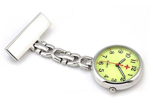 Ellemka JCM-2105 - Elegante Schwesternuhr Clip zum Anstecken FOB Kittel Krankenschwester Pflege-r Quarz Puls-Uhr Rückleuchtend Gewölbtes Glas Taschen Metall Ansteck-Nadel Trend Design - Silber -