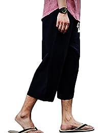 ORANDESIGNE Pantalones Hombre Verano Pantalones de Playa Suaves Pantalones  de Lino con Cordón Pantalones Casuales Longitud 6d3fd74aee0d