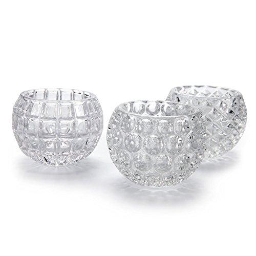 T4u cristallo fiore vaso di vetro decorativo forma della sfera collezione pacchetto di 3 (3 forma)