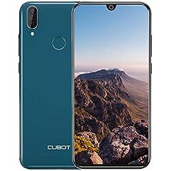 CUBOT R19 Smartphone Pas Cher 4G Télephone Portable débloqué 3+32Go Pas Cher Android 9,0 Mobile 5,71Pouces 19.9HD Goutte d'eau, MT6761 Dual Nano SIM 13+2MP Appareil Photo FaceID Fingerprint Vert
