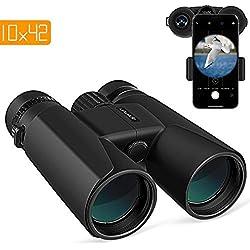 APEMAN 10X42 HD Jumelles, pour Adultes, Lentilles BAK4 Prisme FMC Vision Faible Luminosité,pour Le Voyage, l'Observation des Oiseaux, Concerts, Sports et la Chasse, avec Adaptateur pour Smartphone
