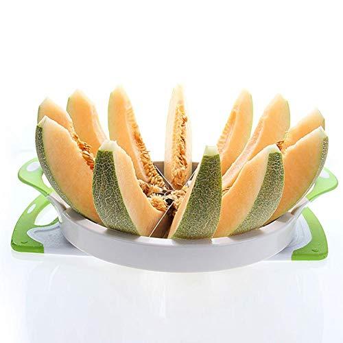 Luckyx Extra Großer Wassermelonenschneider Und Cantaloupe Ananas-Zitronen-Orange-Brotschneidemaschine Mit Komfortgummigriff, Edelstahlschneider-Schäler Corer-Server Für Cantaloup-Melone