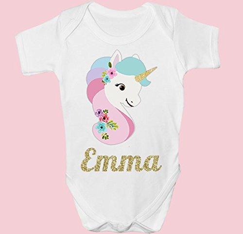 personalisierbar Einhorn Cute Baby Grow Body Weste Weihnachten Geburtstag Baby Dusche Geschenk DE4 3-6 Monate (Personalisierte Baby-dusche-etiketten)