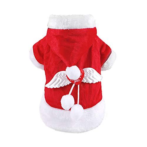 Urijk Hund Kleidung Weihnachtskostüm Rot Weihnachtsmann Muster Baumwolle mit Kapuzen Kostüm Mantel Pullover Bequeme Haustier Zubehör Weste für Weihnachten Dekoration (Roter Mantel Kostüm Muster)