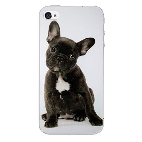(iPhone 4/4s Lustige Tiere Silikonhülle/Gel Hülle für Apple iPhone 4S 4 / Schirm-Schutz und Tuch/iCHOOSE / Französische Bulldogge Welpe)