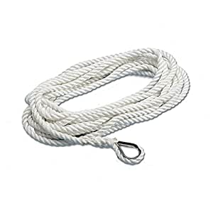 TREM Pack amarrage polyester cosse inox BLANC Diam.14 mm Long 12 m