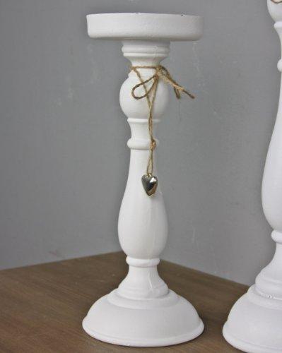 elbmöbel Kerzenhalter 27cm in weiß antik, aus Holz mit Herz in silber, Landhaus Deko Kerzenständer (Candle Gold Sticks Und Silber)