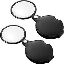 2 Piezas de Lupas de Bolsillo 10 X 5X Mini Vidrio de Lupa de Bolsillo con