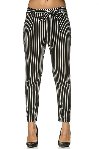 Elara Damen stretch Hose   Gummibund   Stoffhose mit Schleife   Slim Fit   Chunkyrayan 8518 Black-White 42/XL