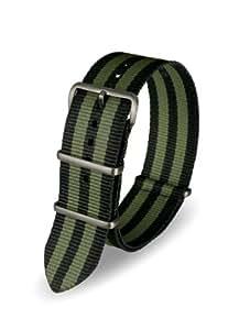 Davis - Bracelet Montre Nato Nylon Noir et Kaki 22mm Haute Qualité