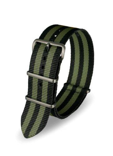 Davis ? Armband Uhr Nato Nylon Schwarz und Khaki 22 mm Hochwertige Qualität