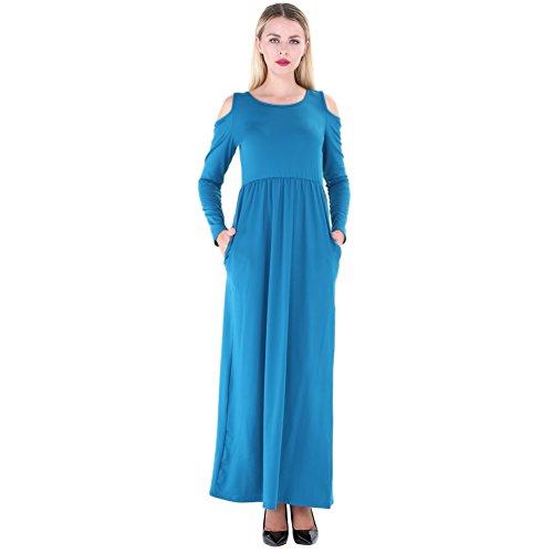 YuanDian Femme Off Shoulder Long Robe Manches Longue Taille Haute Couleur Unie Col Rond A Line Swing Fete Cocktail Soirée Cérémonie Élégant Maxi Longue Robe Avec Poche Bleu