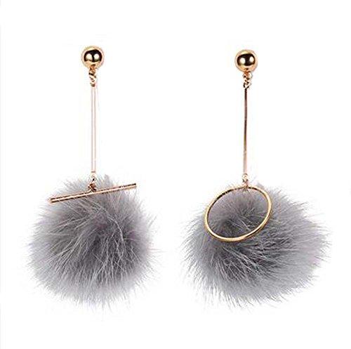 Boucles d'oreilles asymétriques en diamant élastique style europeen, Gris