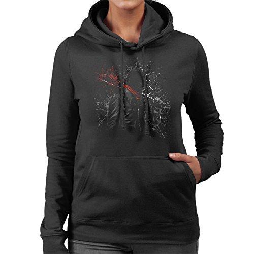 Walking Dead Negan Lucille Psychopath Splatter Women's Hooded Sweatshirt Black