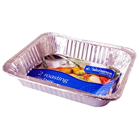 Kingfisher Foil Roasting Trays, Silver, Large, Pack of 2