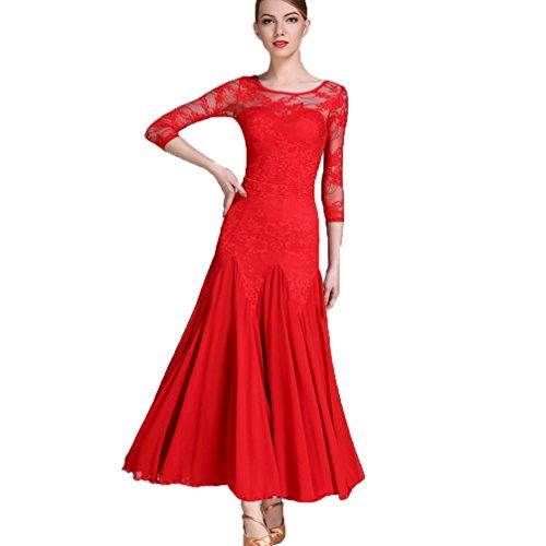 Moderne Tanzabnutzung für Frauen Spitze Splice Wettkampftraining Dress Ballsaal Tanz Split Rock Walzer Tango Match-Tanz-Outfit einstellen Performance 2 Stück, red, S (2 Stück Zeitgenössischen Tanz Kostüme)