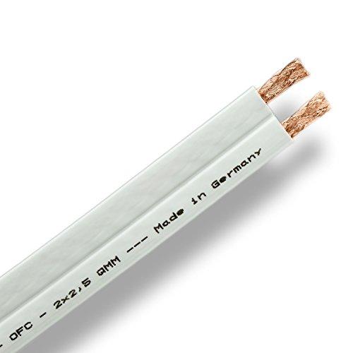 DCSk 15m – 2×2,5mm² flaches Lautsprecherkabel PROflat 25, flexibles OFC Kupferkabel 15m Ring für HiFi / Audio, weißes Boxenkabel mit Isolierung